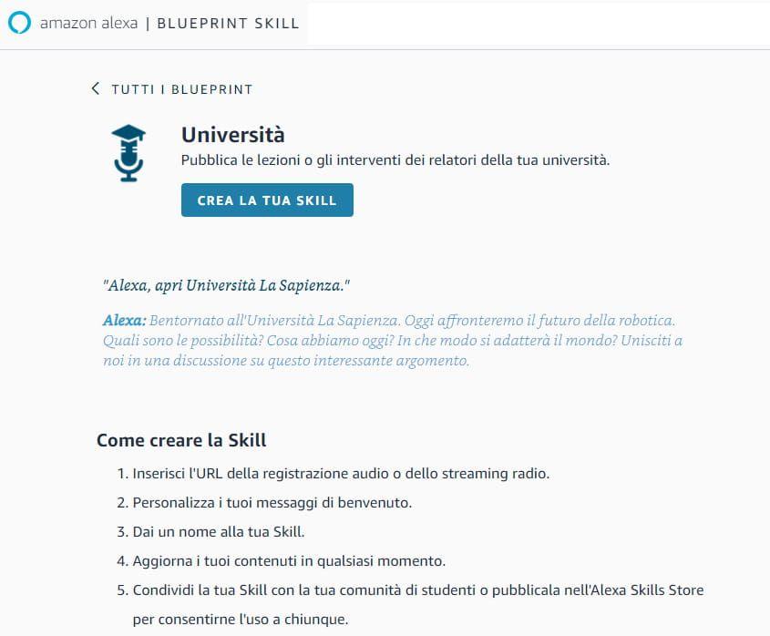 La schermata iniziale della creazione della Skill con Blueprint Skill di Amazon Alexa
