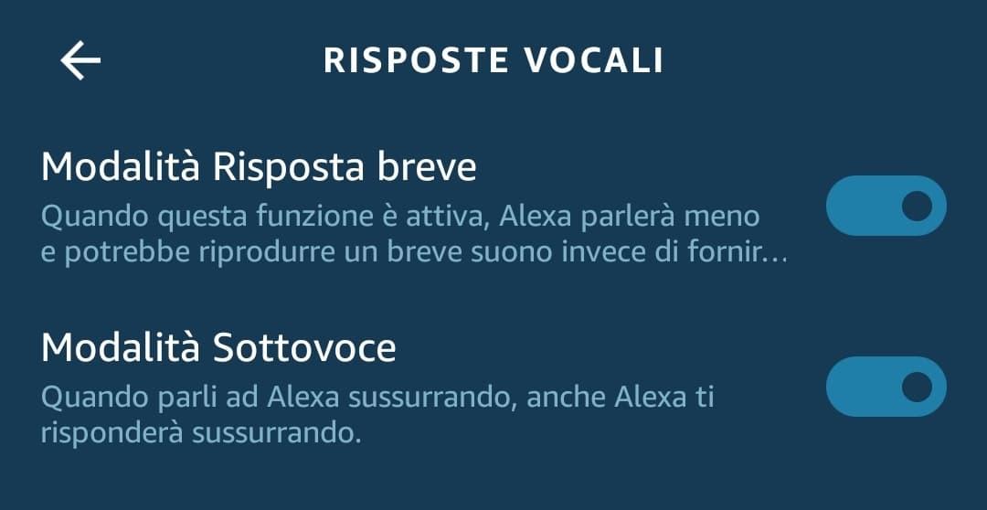Le impostazioni dall'applicazione di Alexa per abilitare la modalità sottovoce