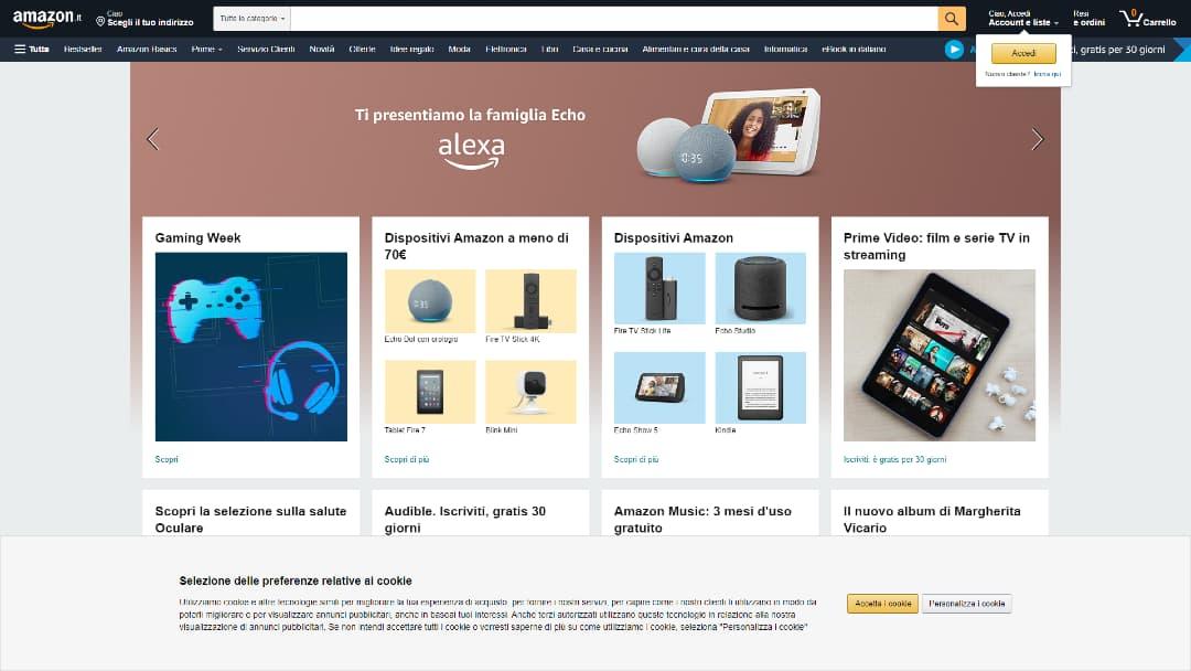 Uno screenshot dell'homepage di Amazon fatto attraverso Puppeteer usando setViewport