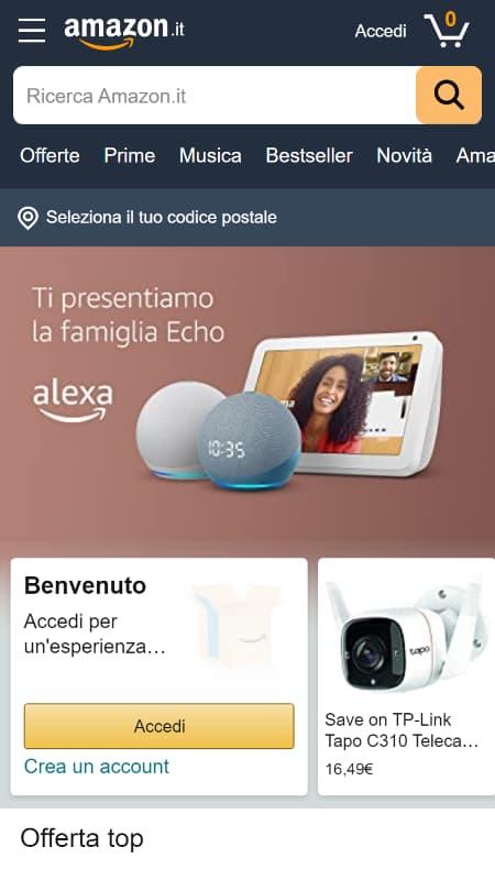 Uno screenshot dell'homepage di Amazon con un'automazione che accetta i cookie