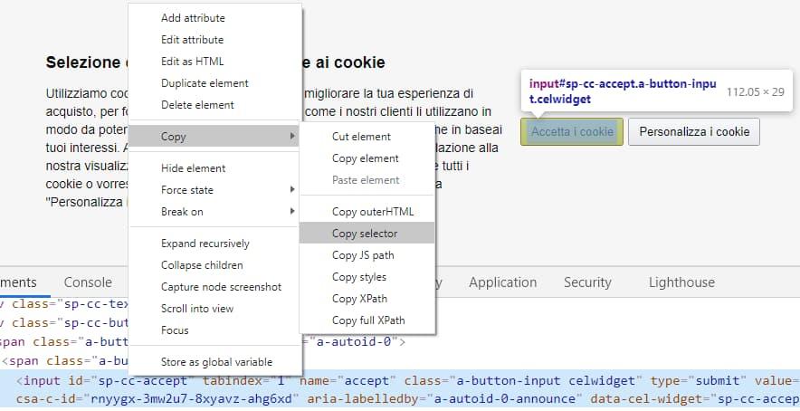 Come estrarre il selettore di un elemento della pagina web usando Chrome
