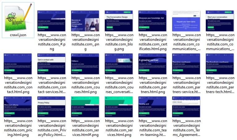 Un esempio del crawling di un sito web che genera alberatura in Json e screenshot delle pagine il file distinti