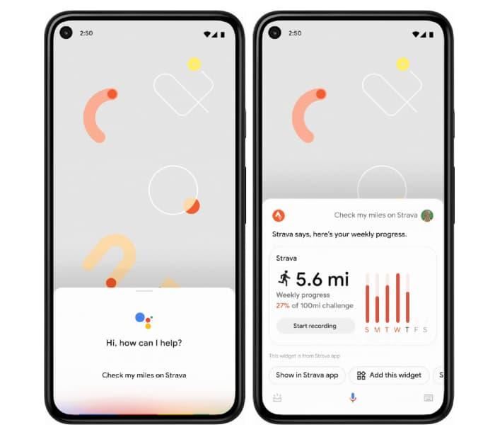 Un esempio dell'utilizzo dei widget con Google Assistant