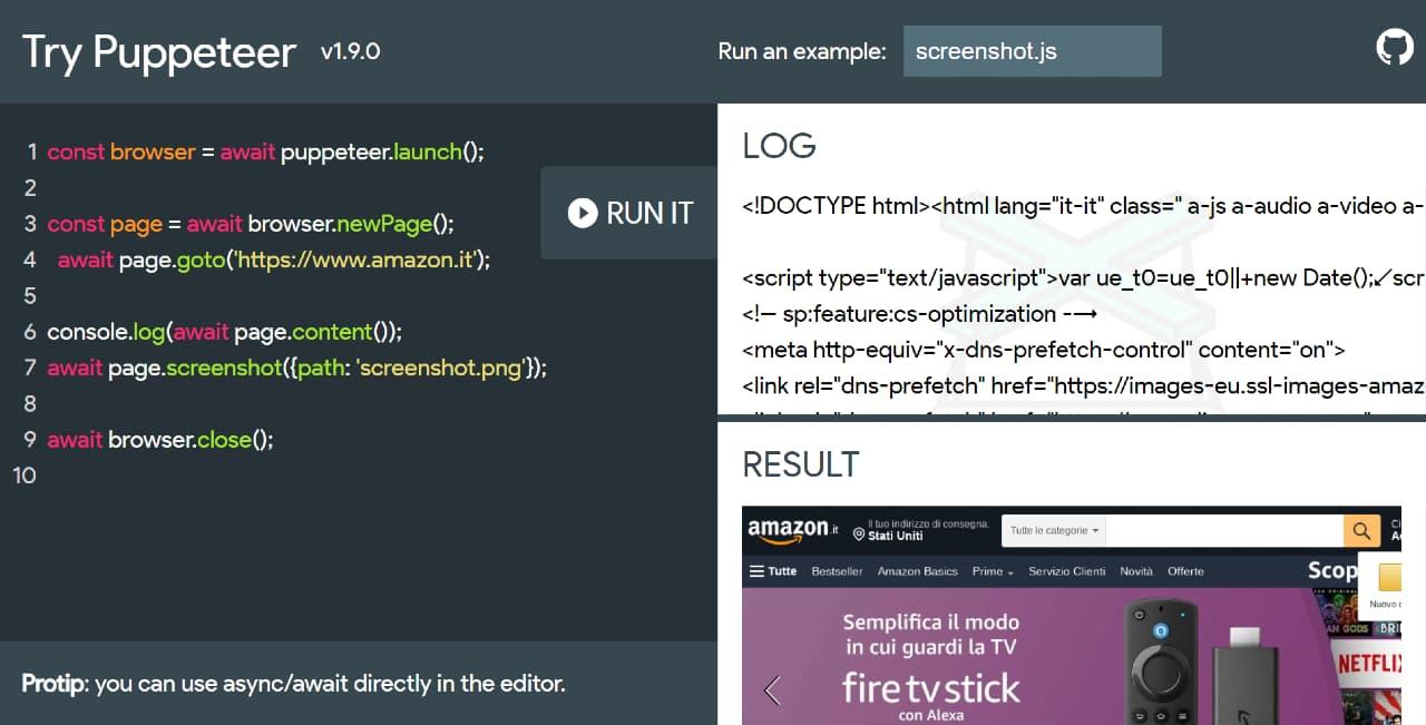 Try Puppeteer: un tool per testare gli script per la browser automation attraverso un'interfaccia web based