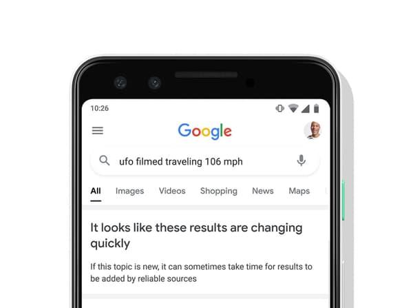 Un esempio del nuovo avviso di Google che indica che i risultati sono ancora in evoluzione