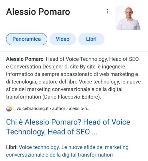 Un esempio di Knowledge panel dell'autore - Alessio Pomaro