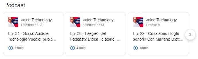 Il podcast compare in SERP con una ricerca sul nome dell'autore (Alessio Pomaro)