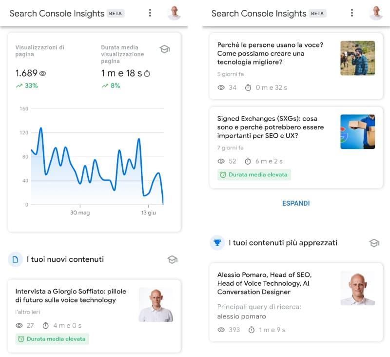 Schermate di Google Search Console Insights
