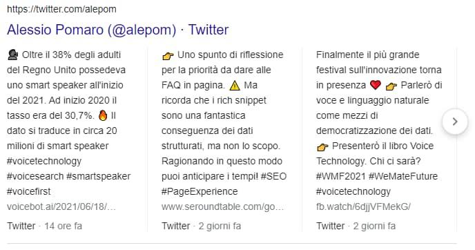 I tweet compaiono in SERP con una ricerca sul nome dell'autore (Alessio Pomaro)