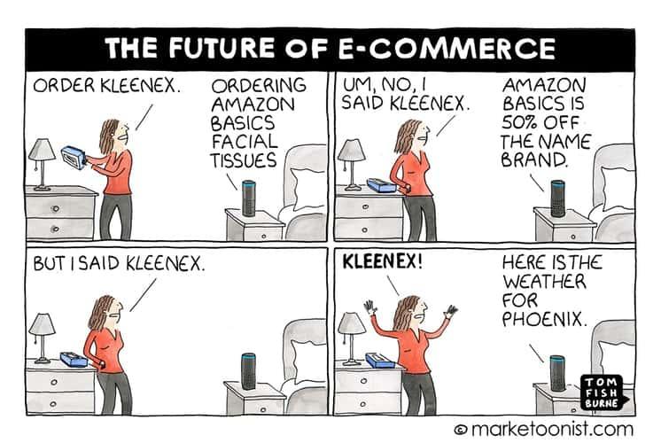 La vignetta di marketoonist sul futuro dell'e-commerce e Alexa